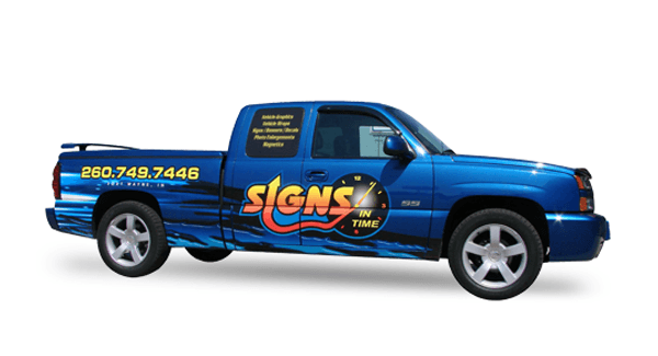 Blue Pickup with Signs in Time vehicle wrap